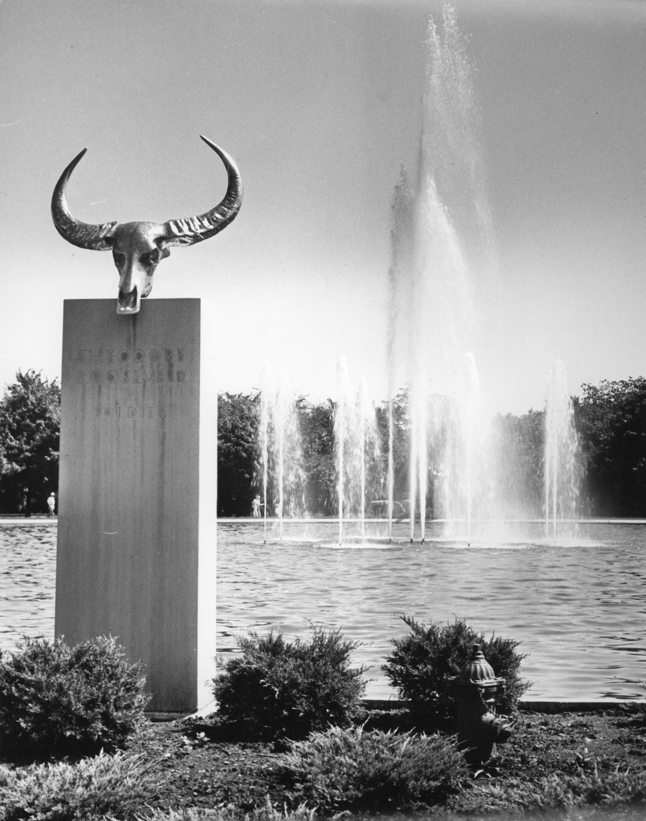 View of the Theodore Roosevelt Memorial Fountain and bronze water buffalo sculpture mounted on a concrete plinth, Brookfield Zoo Chicago Zoological Society