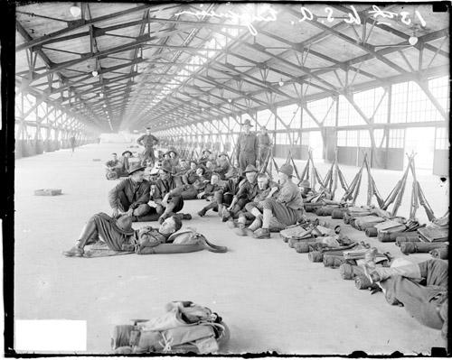 [13th Army Engineers relaxing at temporary accommodations at the Municipal Pier]