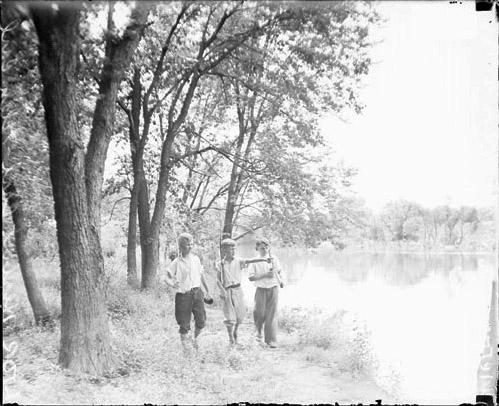 [Boys going fishing at the Methodist Camp in Des Plaines, Illinois]
