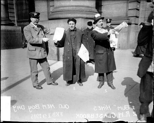 [Edward Hines and R. W. Glasebrook selling newspapers on Old Newsboys Day]