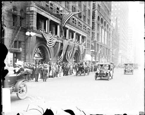 [Auditorium Hotel, decorated with flags for the arrival of Theodore Roosevelt]