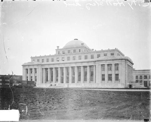 [City Hall Building in Gary, Indiana, built in Neoclassical style, dark exposure]