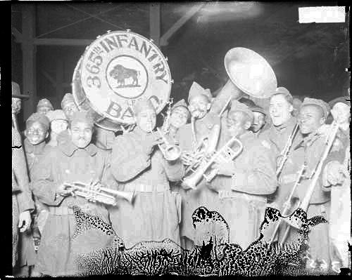 [365th Infantry, African American infantry, band smiling and holding instruments]