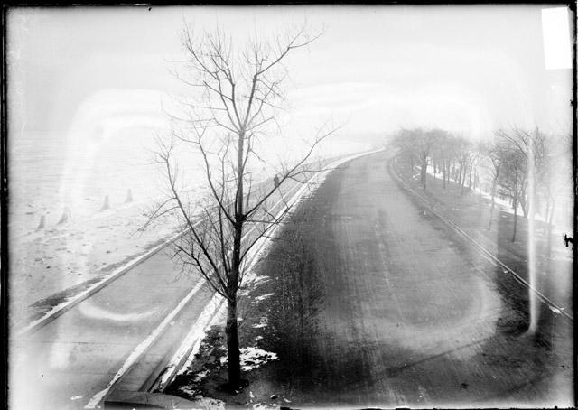 [Lakefront and Lake Shore Drive, viewed from the High Bridge in Lincoln Park]