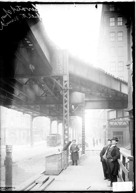 [Market Street elevated train spur where a man fell to the ground, with men standing on the ground looking up]