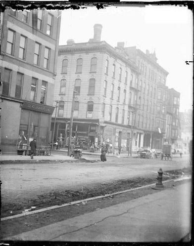 [Intersection of South Wabash Avenue and East 22nd Street looking southwest from the north side of 22nd street]