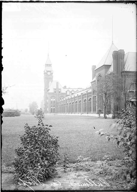 [Clock tower and Administration building in Pullman, Illinois, looking north]