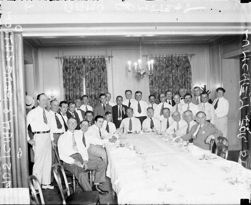 [1933 World's Fair Band Contest, musicians banquet for Walter Strong, owner and publisher of the Chicago Daily News]