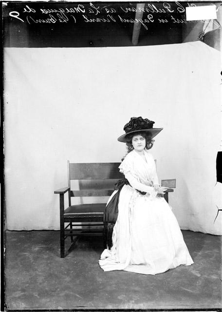 [Mrs. W. C. Pullman in costume as La Marquise de Jaucourt for a Pageant Vivant, light exposure]