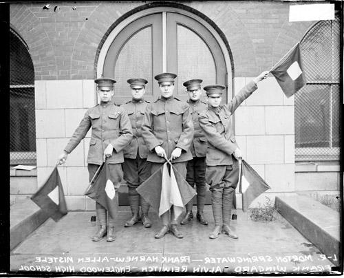 [Englewood High cadets, Morton Springwater, Frank Harnew, Allen Mistele, Frank Wingard, and Alvin Riewitch]