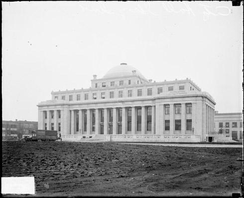 [City Hall Building in Gary, Indiana, built in Neoclassical style, light exposure]