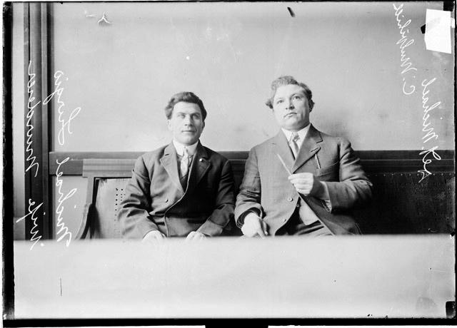 [Accused wife murderer, Michael Lurgis, and detective Michael C. Mulvihill]