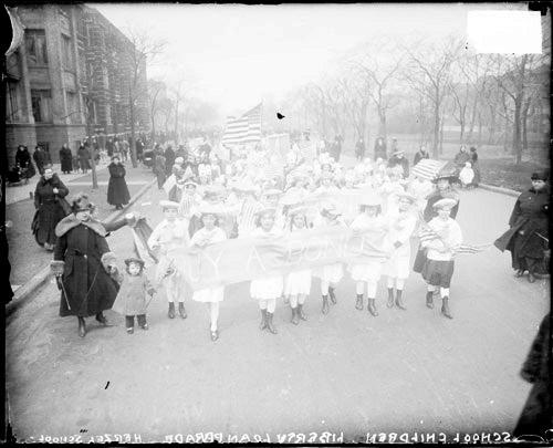 [Third Liberty Loan parade, children from Herzel School marching]