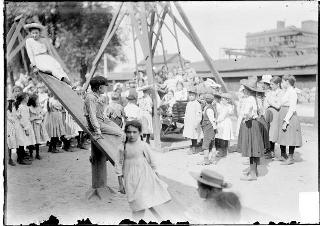 [Children at the Webster School playground]