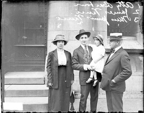 [James Vinci, a criminal, his family, and James J. Barbour, Assistant State's Attorney, looking toward the camera]