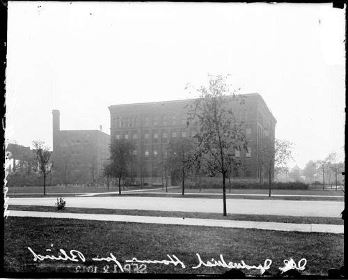 [Illinois Industrial Home for the Blind, view toward the entrance of the building from across the street]