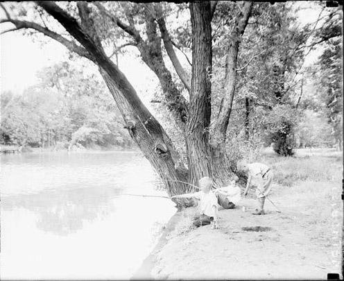 [Boys fishing at the Methodist Camp in Des Plaines, Illinois]