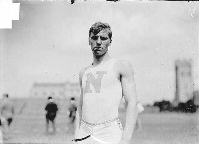 [Athlete, A. Dierssen, North Division High School, standing at Marshall Field]