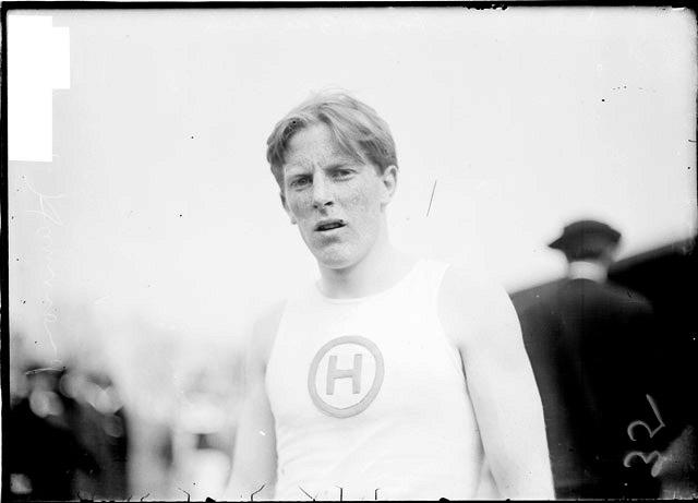 [Athlete, Blair, Hammond High School, standing at Marshall Field]