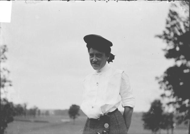 [Golfer, Bessie Anthony, standing on the course at Chicago Golf Club]