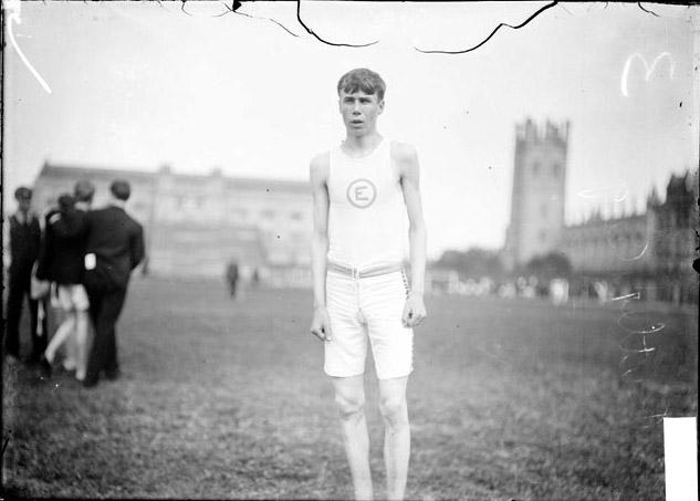 [Athlete, Butler, Engelwood High School, standing on the field]
