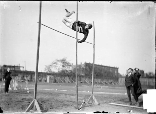 [Athlete, Beach, Stanford, pole vaulting, clearing pole, Marshall Field]