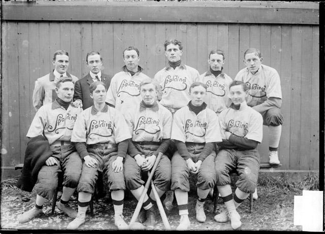 [Indoor ball team, Spalding, in two rows, outdoors]