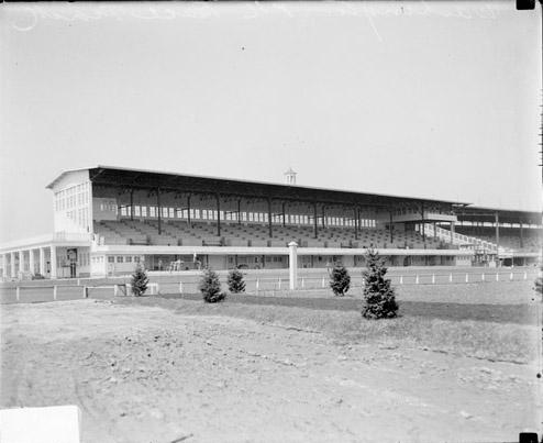 [Grandstands, Washington Park Track, Derby Day, viewed from within track]