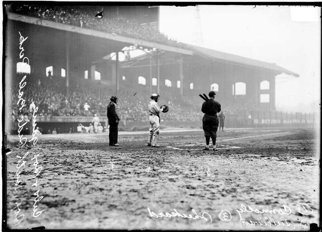 [Baseball, City Series, at Comiskey Park, Jimmy Sheckard of the Chicago Cubs preparing to bat, Billy Sullivan catching and umpire T. H. Connolly behind home plate]