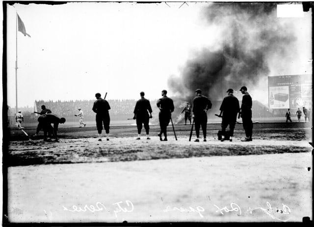 [Baseball, City Series, six Cubs players, holding baseball bats, standing near home plate at Comiskey Park]