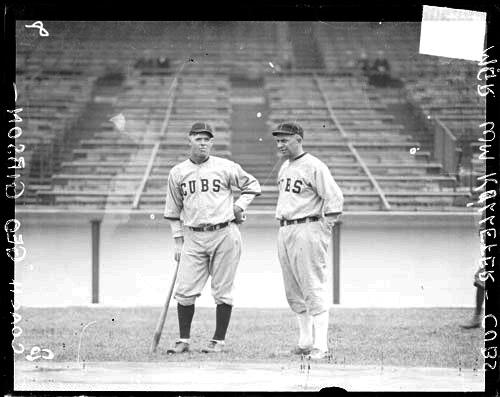 [Baseball coach George Gibson and manager Bill Killefer, Cubs, standing at Weeghman Field]