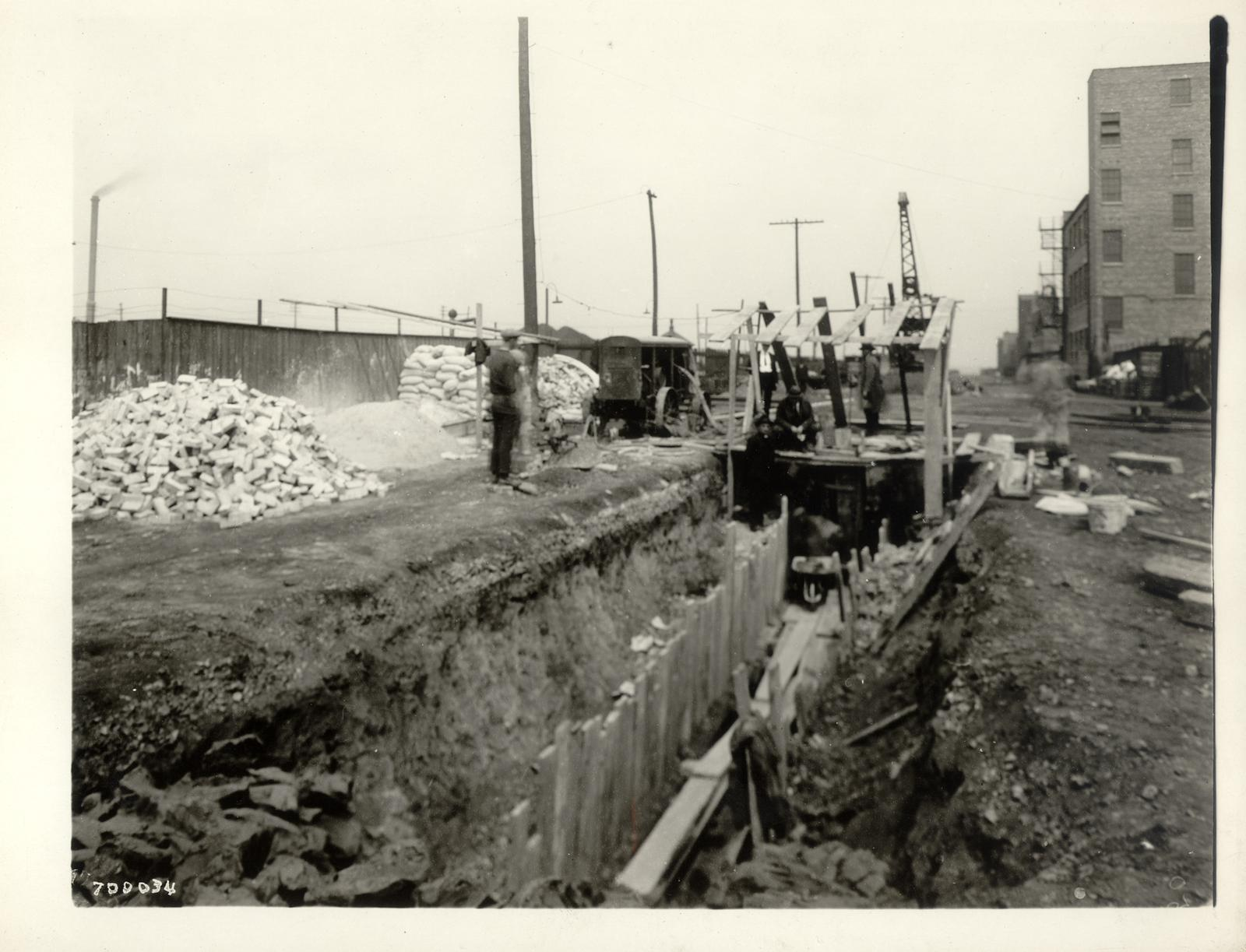 115th Street and Stephenson Avenue [now Champlain Avenue], view of sewer looking east, May 21, 1925