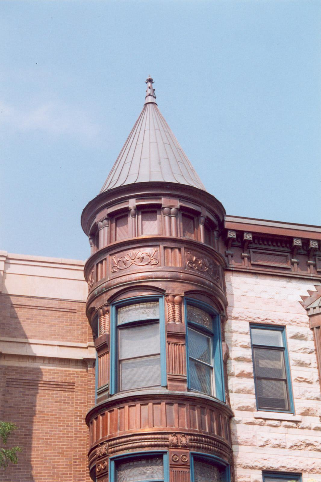 1610 N. Wells St.; Apartment; Commercial building; Detail, turret