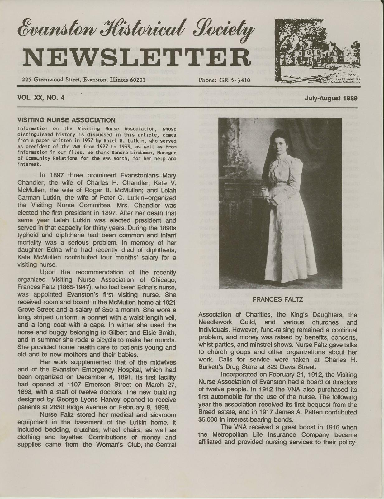 Visiting Nurse Association North: Evanston Historical Society News