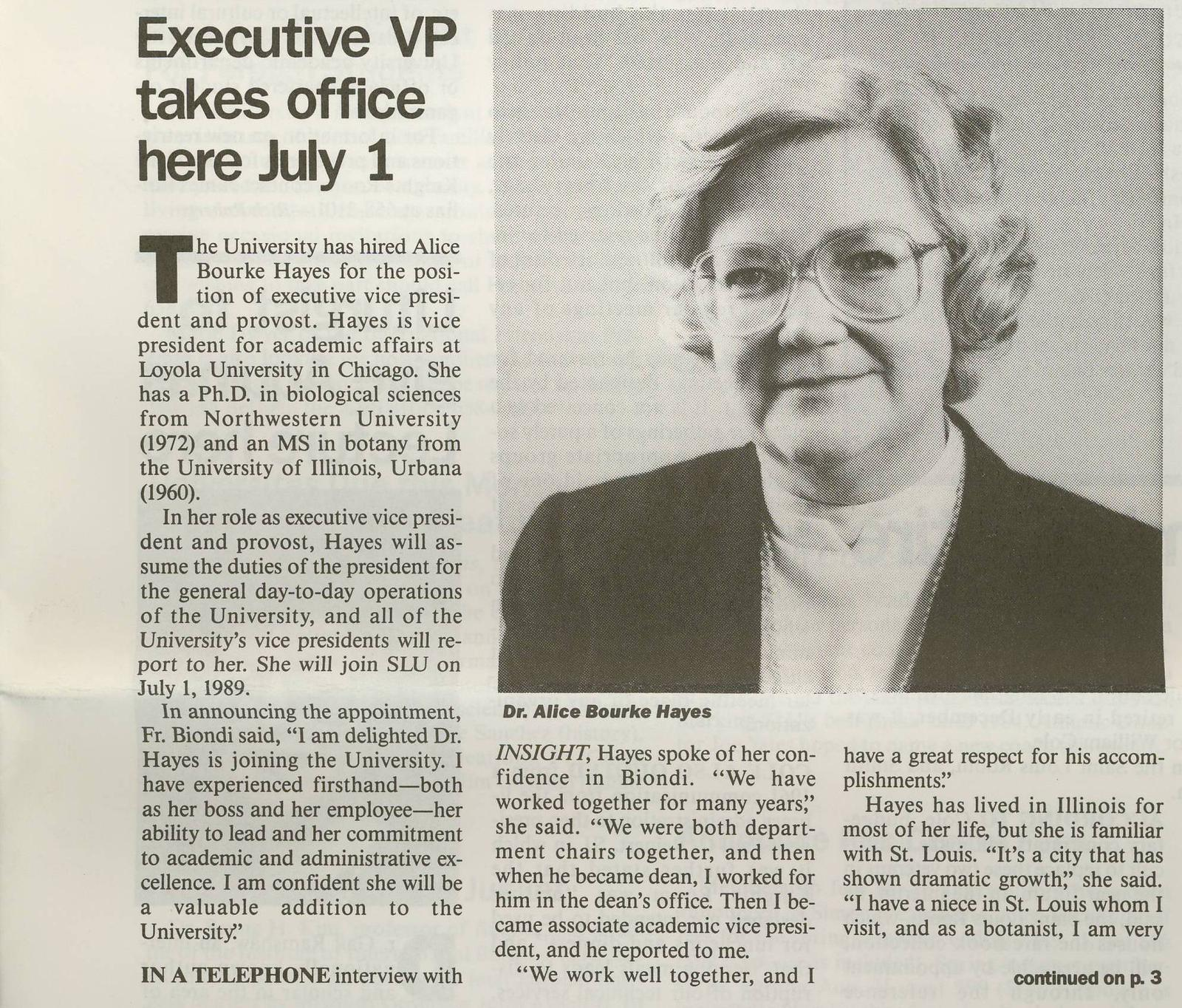 Alice Bourke Hayes, Ph.D.: Executive VP takes office