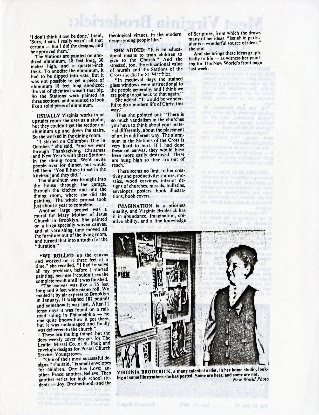 Articles: Virginia Broderick Artist Extraordinary