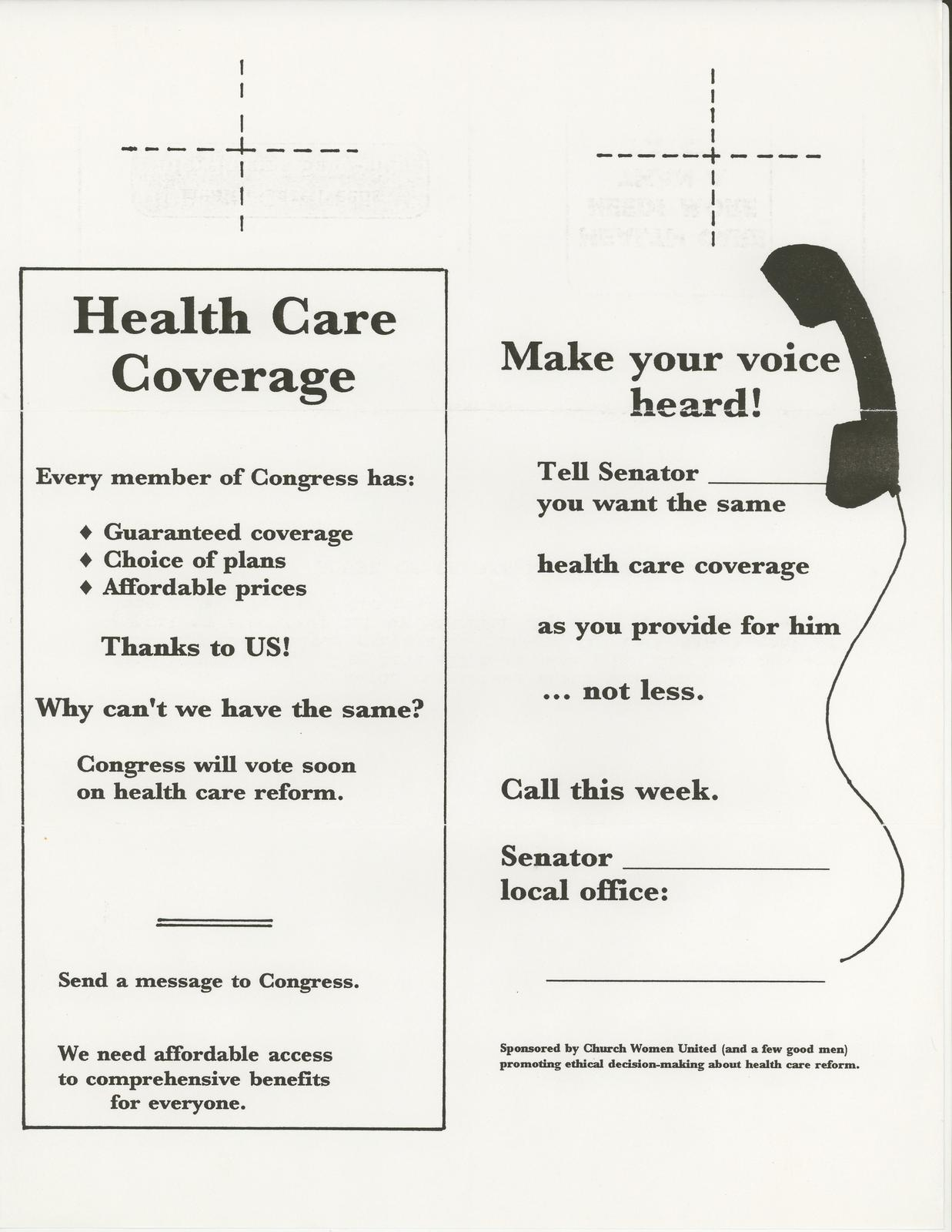 Church Women United- Health Care Coverage Make your voice heard!