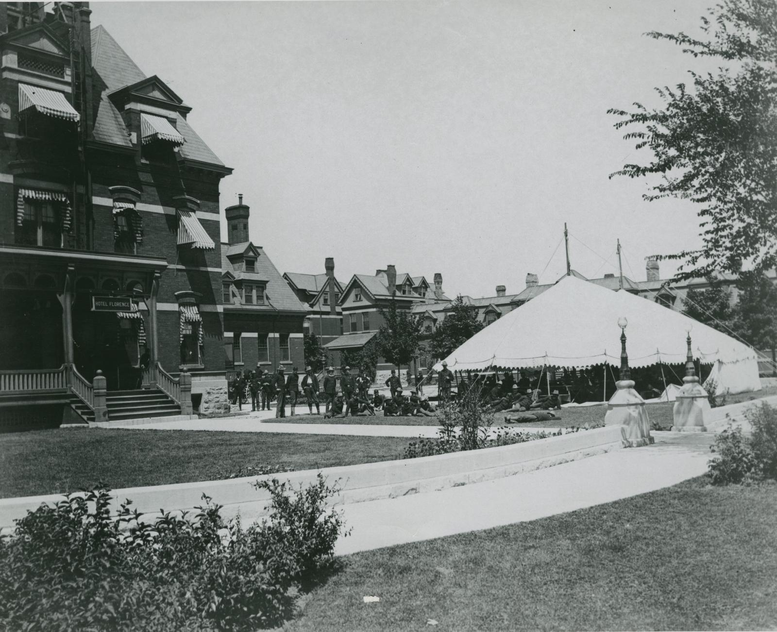 Illinois National Guard on South Lawn of Hotel Florence, Pullman, 1894