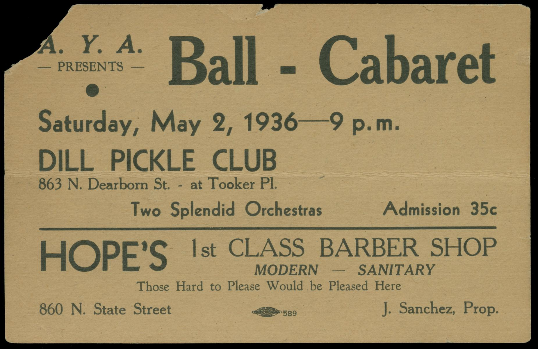 A.Y.A. presents Ball-Cabaret, Saturday, May 2, 1936