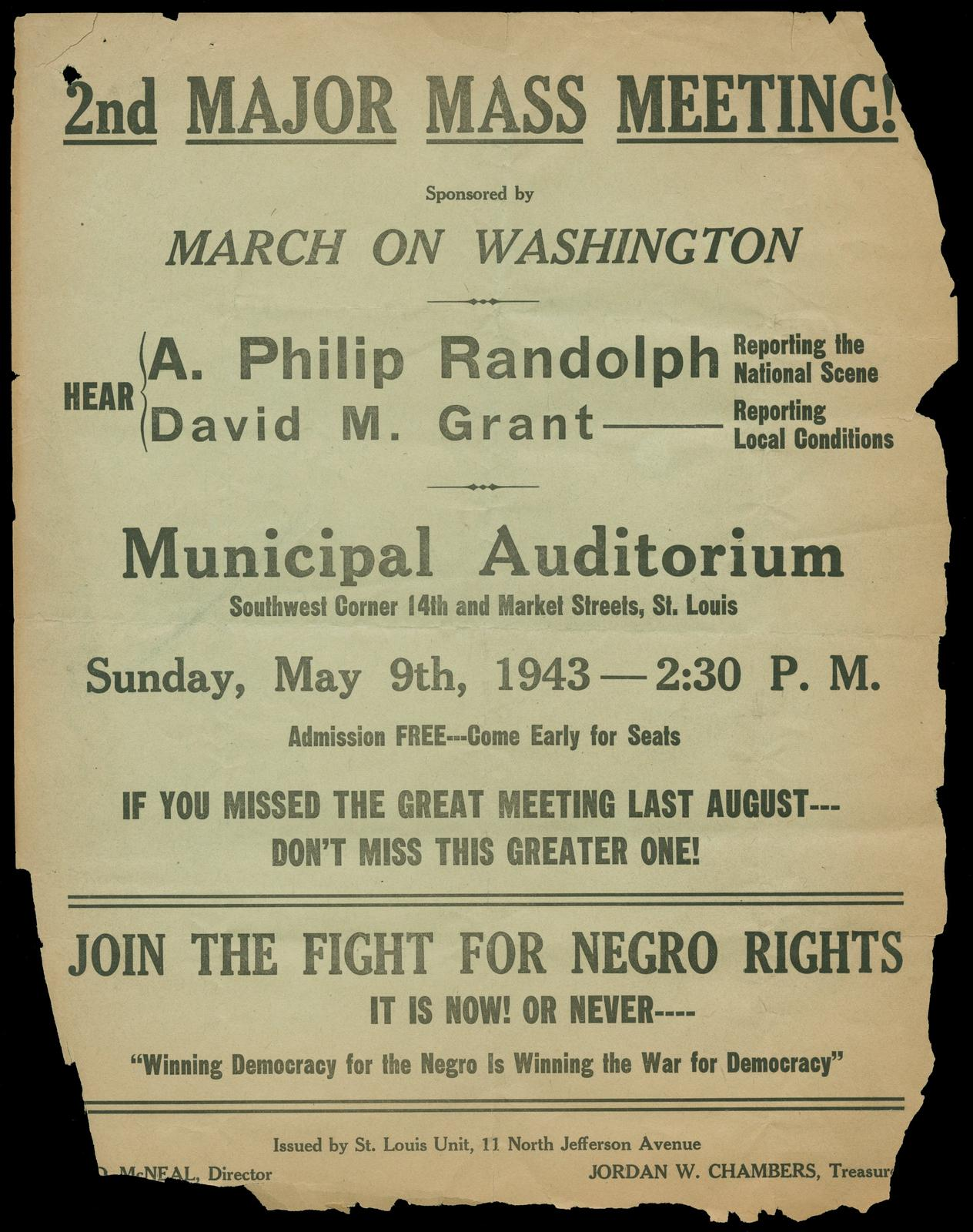 2nd major mass meeting sponsored by March on Washington, 1946