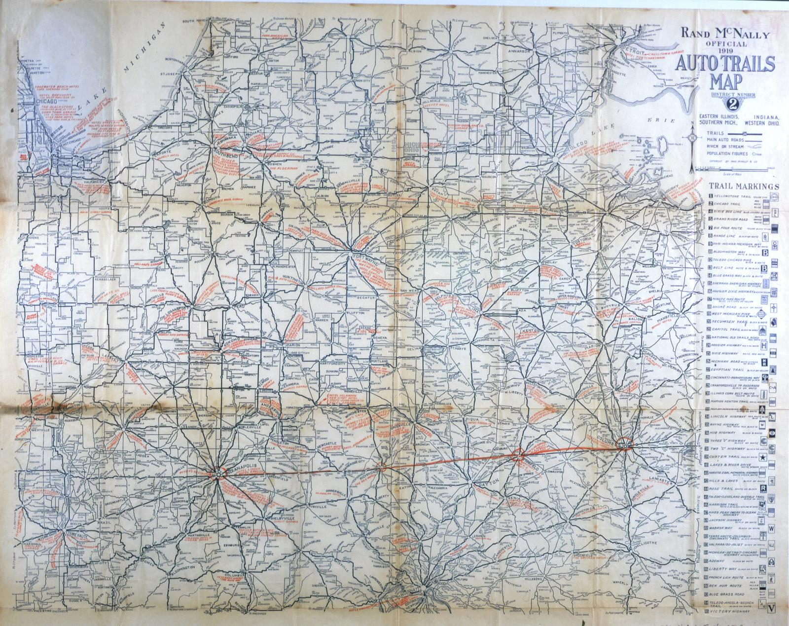 Rand McNally official 1919 auto trails map. District ... - ECC on brown maps, white maps, united states maps, motorcycle road maps,
