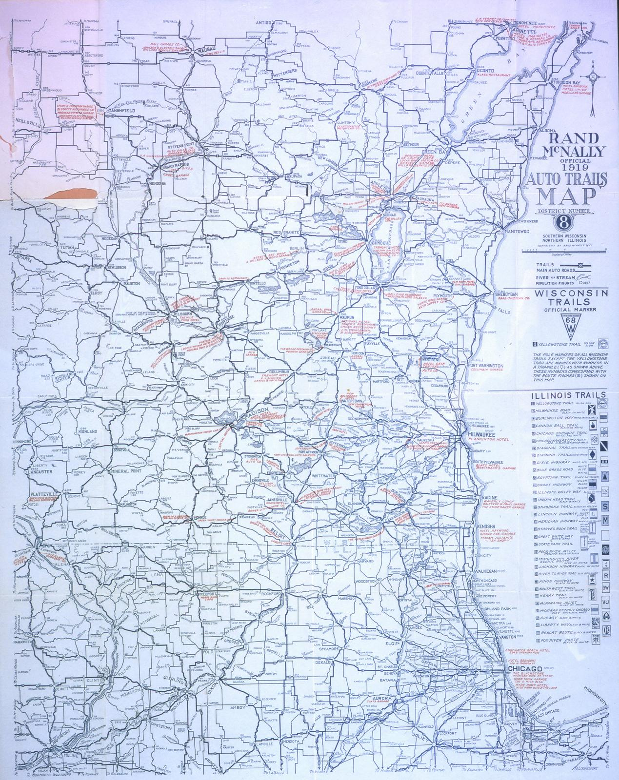 ECC Rand McNally official 1919 auto trails map District number