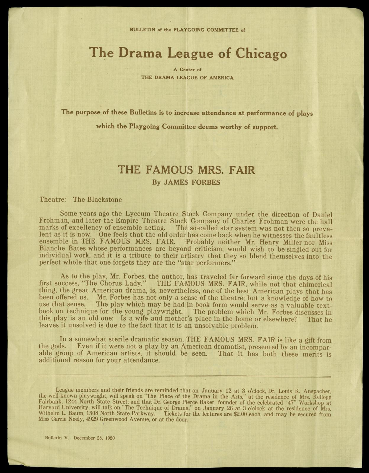 Bulletin of the Playgoing Commettee of The Drama League of Chicago