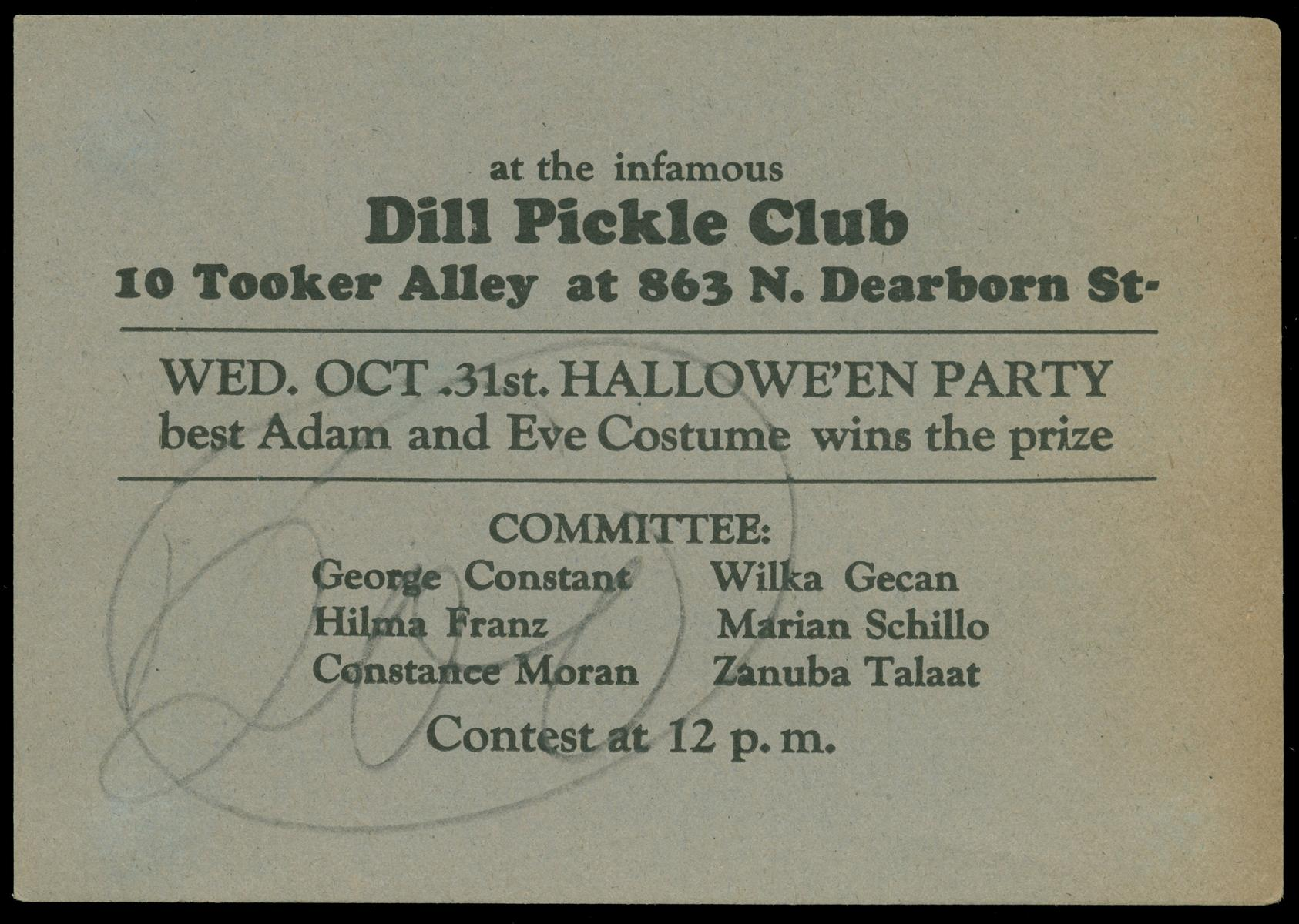 ECC | At the infamous Dill Pickle Club Halloween Party