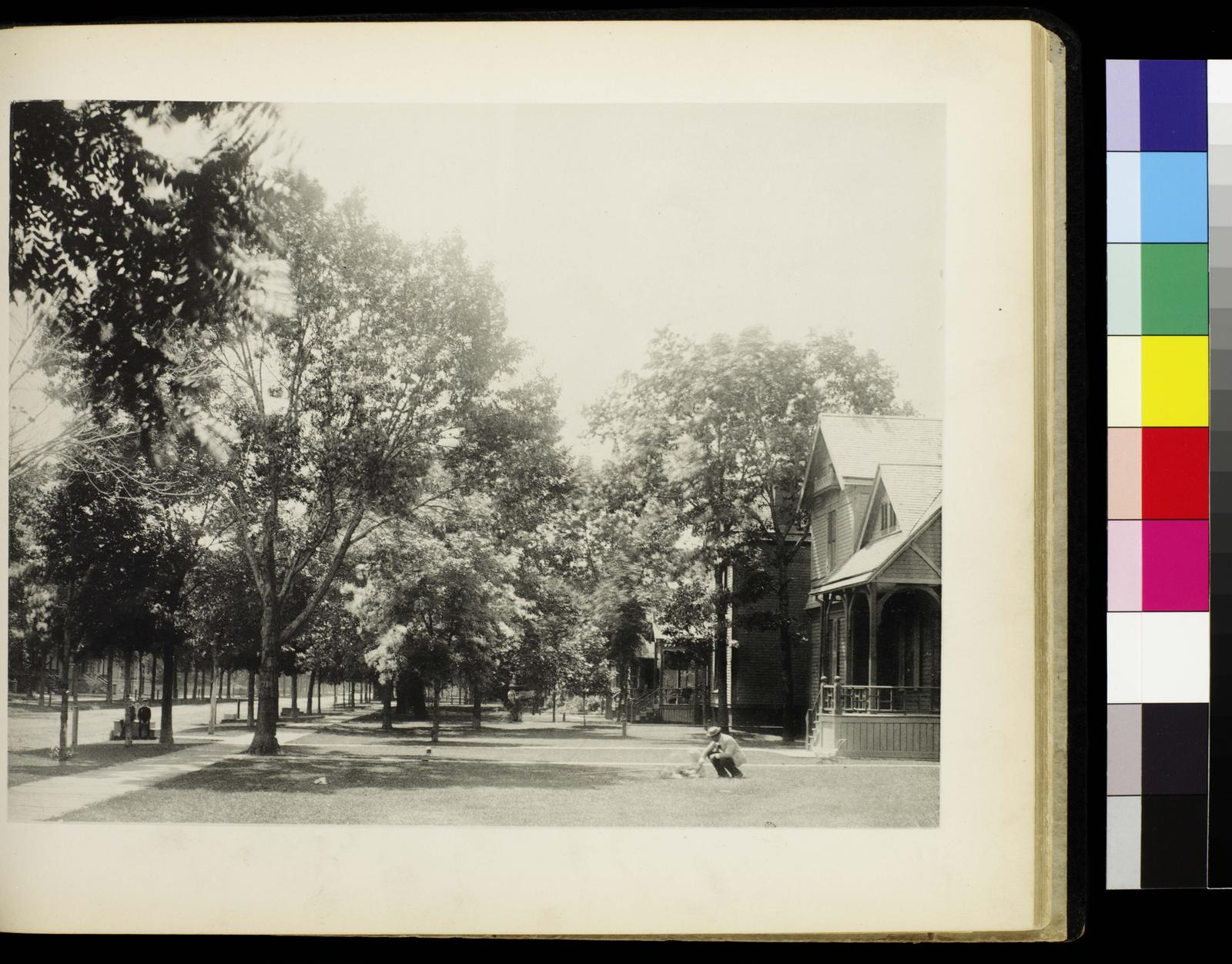 Photographic views of picturesque Evanston, state of Illinois. Cor. Maple Avenue and Grove Street. Versos