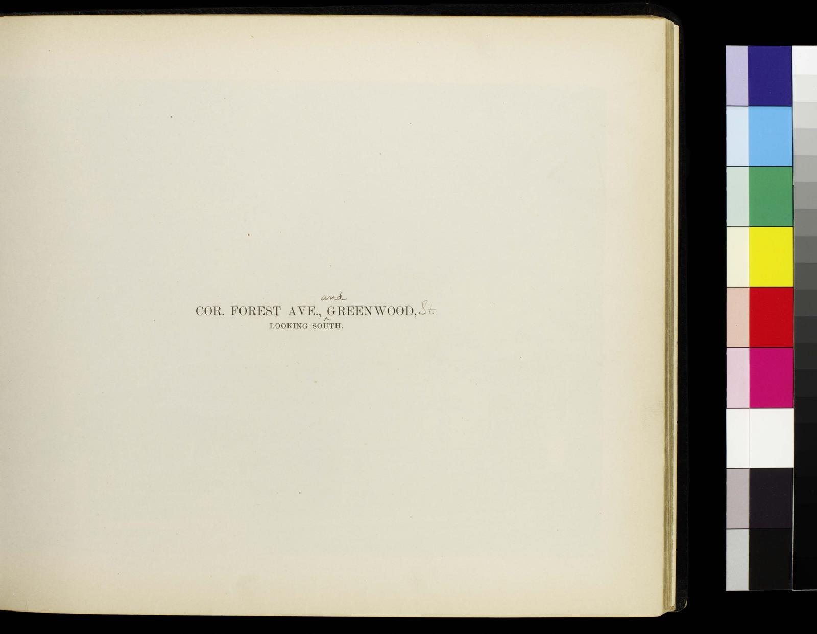 Photographic views of picturesque Evanston, state of Illinois. Cor. Forest Aveneue and Greenwood, looking south. Rectos