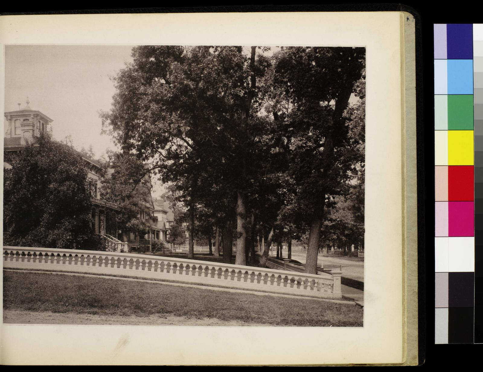 Photographic views of picturesque Evanston, state of Illinois. Cor. Davis Street and Ridge Avenue. Versos