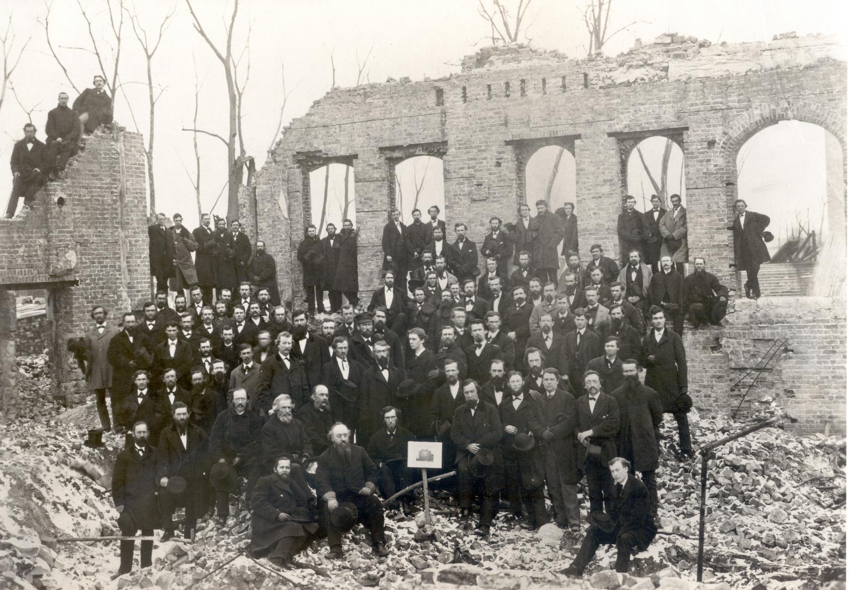 Faculty and Students of Rush Medical College in the ruins of the college after Great Chicago Fire, 1871
