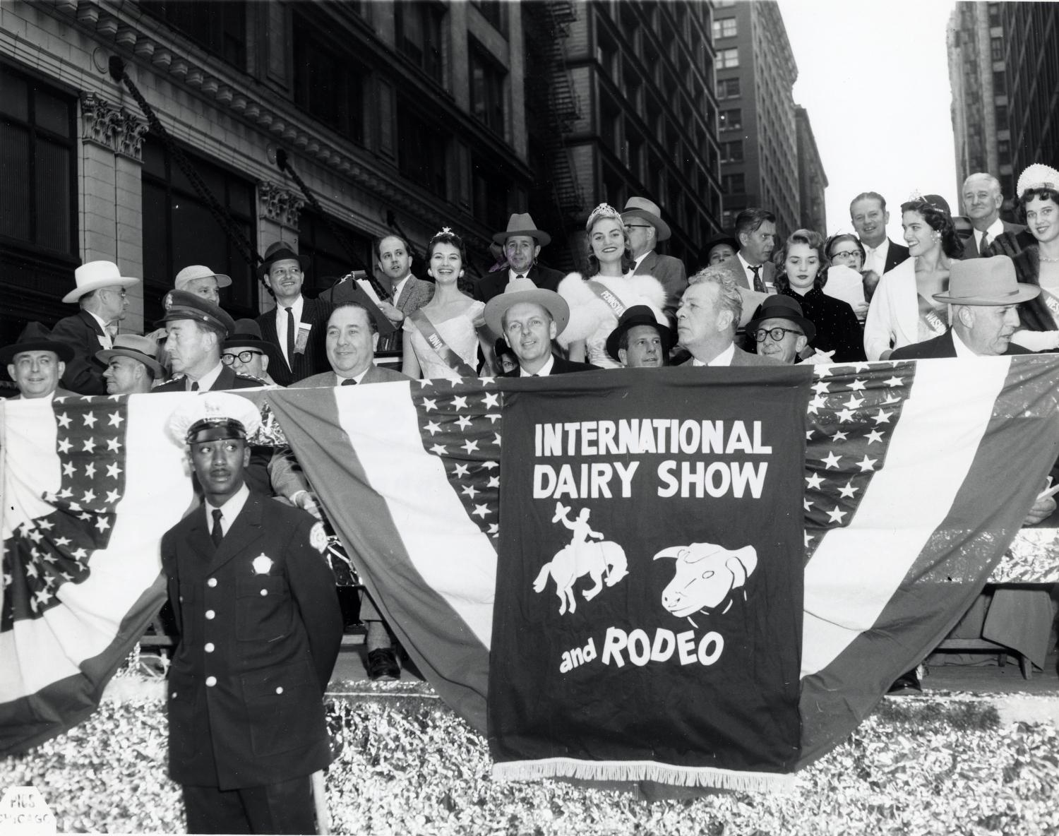 At the International Dairy Show and Rodeo [part of Chicago's 120th Anniversary Celebration].