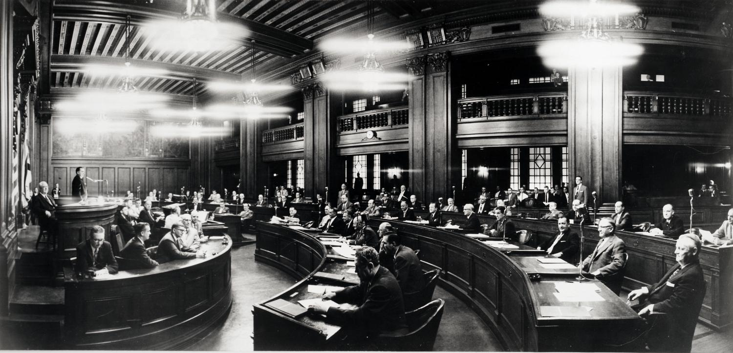 Newly elected Mayor Richard J. Daley presiding over his first City Council meeting.